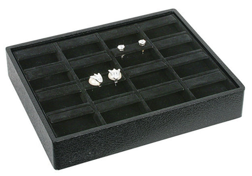 M&M ET916V-BK Stackable 16 Pair Earring Tray - Black