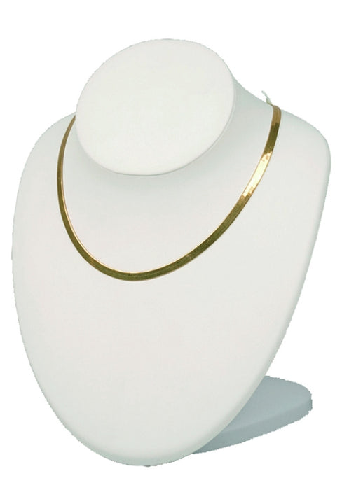 M&M ND-2890L-WH Adjustable Necklace Display White Leather