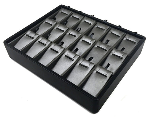 M&M PT918-87R Stackable 18 Pendant Tray Black & Steel Grey
