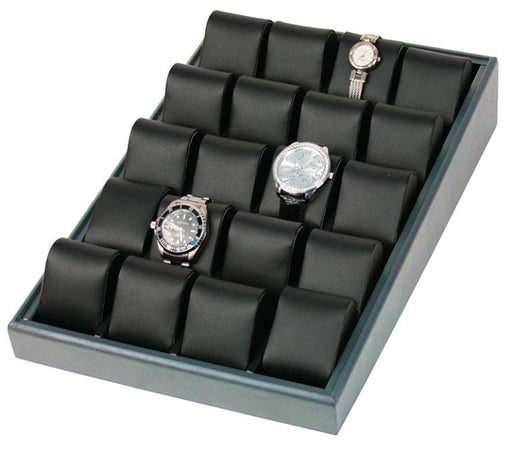 M&M WT-1320L-78R 20 Deluxe Watch Tray Black Leather/SteelGrey