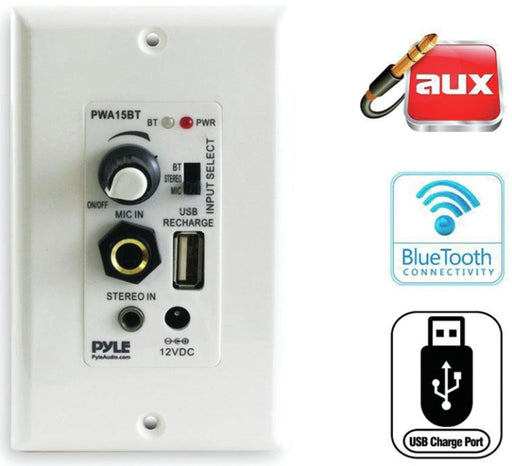 Pyle Pro PWA15BT In-Wall Amplifier Bluetooth Aux, Mic, USB Charge