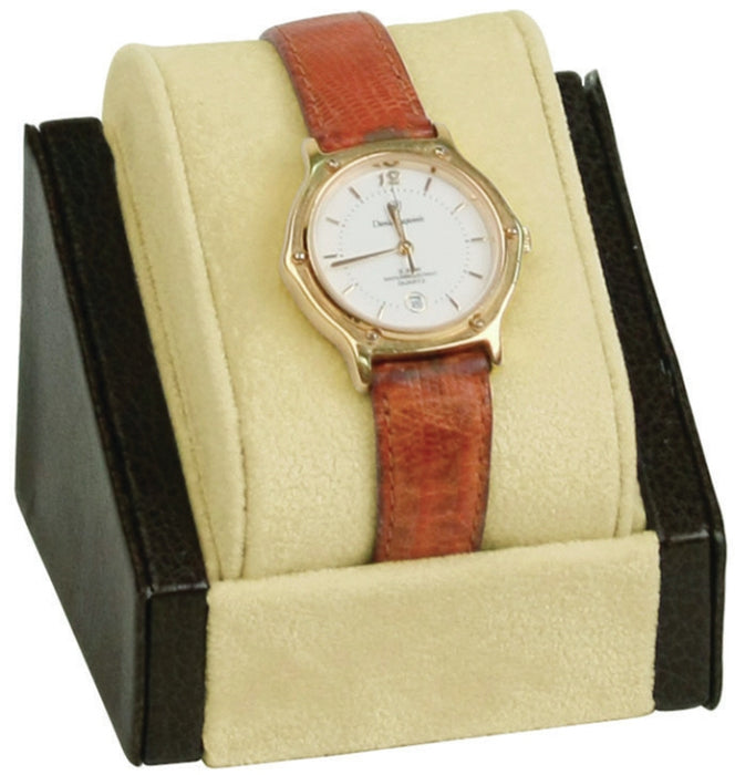 M&M WD-0551-74L Beige Suede with Brown Leather Trim Watch Display