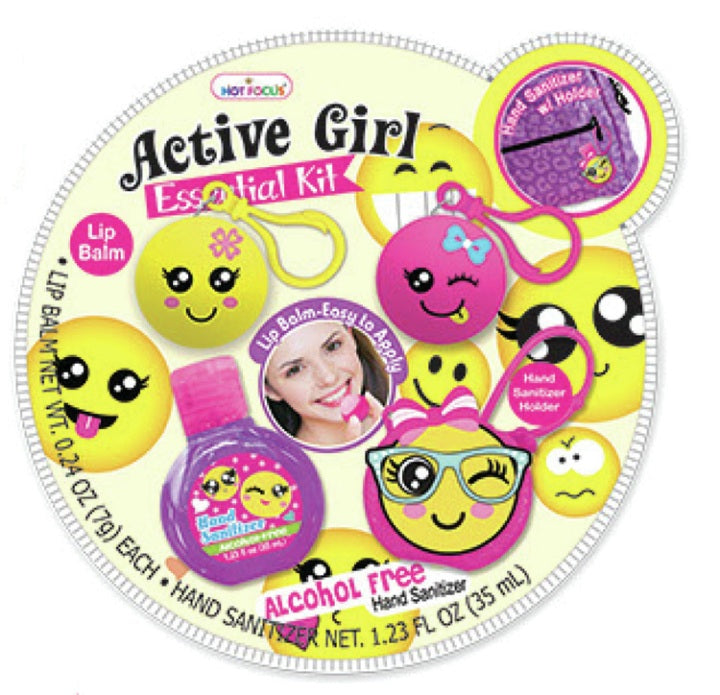 Hot Focus HF-082CBLEM  Active Girl Essential Kit Emoji Lip Balm