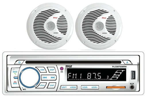 Pyle PLCDBT65MRW   Marine BT Stereo w/6.5 Speakers White