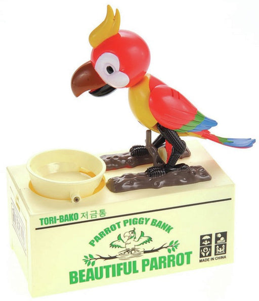 MPT501 RED Toy Cute Parrot Automatic Bank
