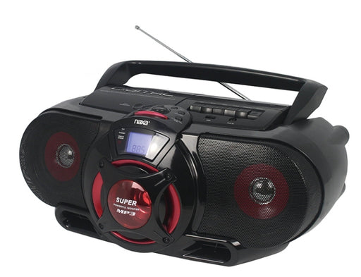 Naxa NPB-273 Portable Bluetooth AM/FM/CD/Cassette/USB Boombox