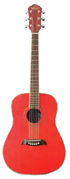 Oscar Schmidt OG1TR .75 Size Acoustic Guitar - Transparent Red