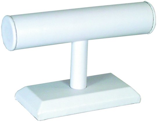 M&M 219L Faux Leather Single Tier T Bar - White