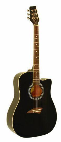 Kona K1 Series Acoustic Dreadnought Cutaway Guitar Gloss Black