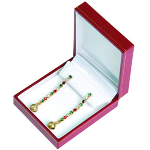 M&M LRED6 Faux Leather Earring Box - Red