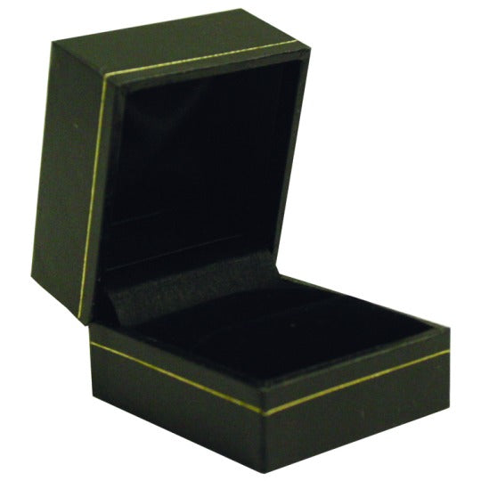 M&M LS00R Faux Leather Single Ring Box - Black With Gold Trim