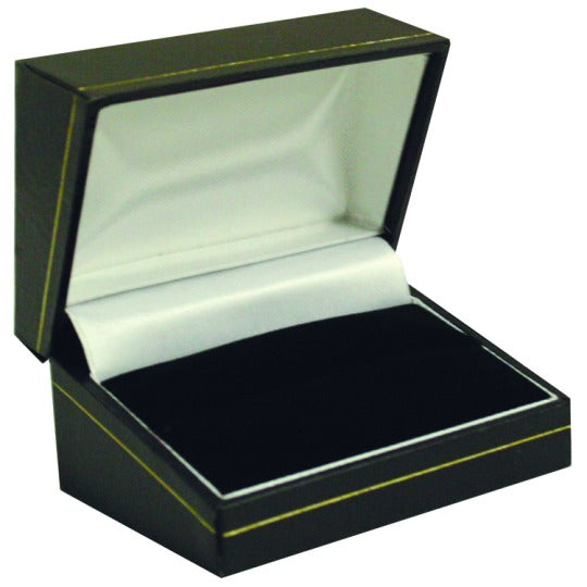 M&M LS10R Faux Leather Double Ring Box - Black With Gold Trim