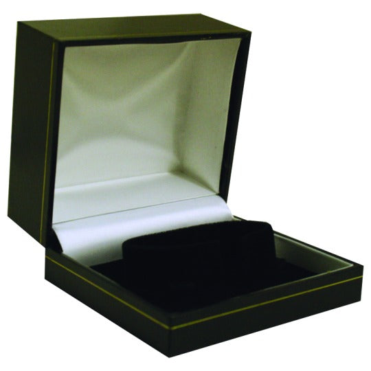 M&M LS55B Faux Leather Watch Box - Black With Gold Trim