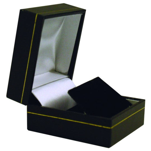 M&M LS60E Faux Leather Earring Box - Black With Gold Trim