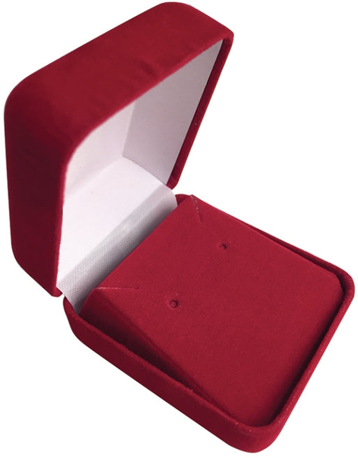 M&M MFE01R Velour Earring Box- Red