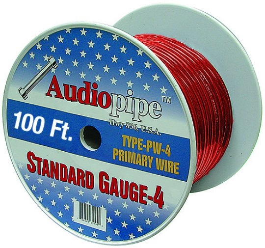Audiopipe 100' 4 Gauge Red Power Wire