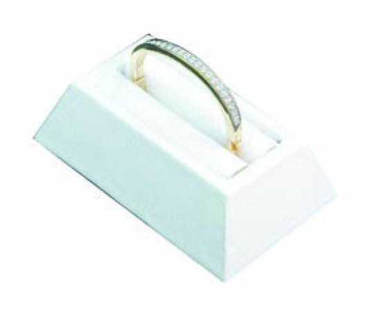 M&M 4010L-WH Faux Leather Slotted 1 Bangle Bracelet Display - White