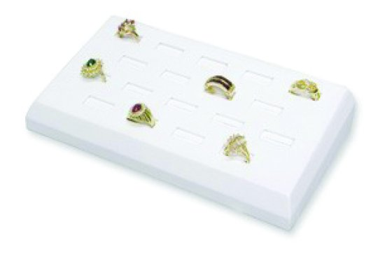 M&M BX2460L-WH Faux Leather 18 Slot Ring Tray - White