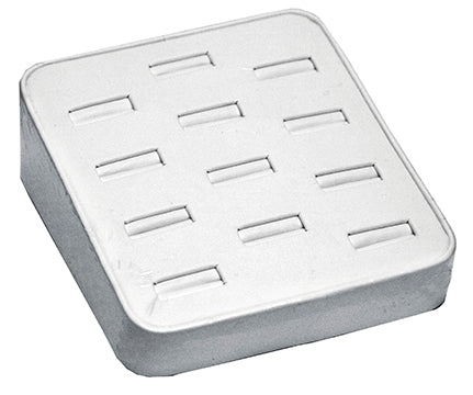M&M BX2470L-WH Faux Leather Slotted 12 Ring Tray - White