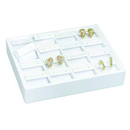M&M ET916-WH Stackable 16 Pair Earring Tray - White