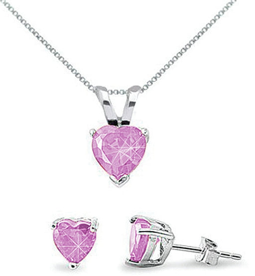 Sterling Silver 6mm Pink Heart CZ Box Set