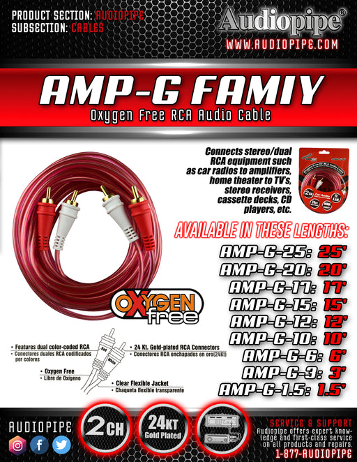 AMPG25 Apipe Clear 25 Ft OFC RCA