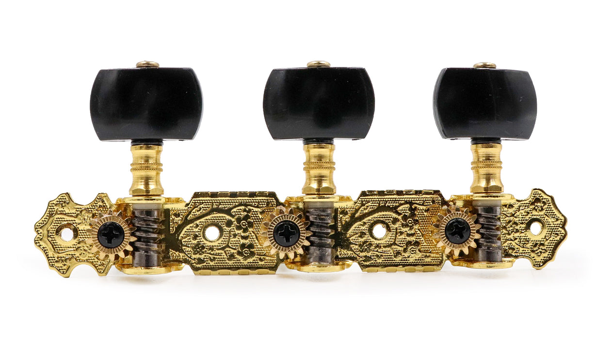 AOS-020B3P Alice Gold Plated 3 Machine Head Black