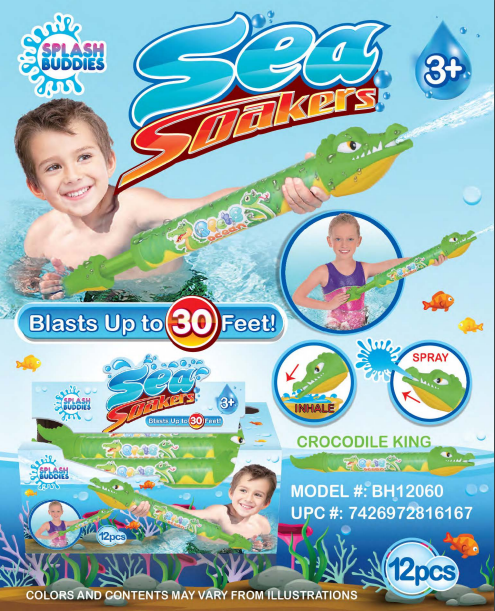 BH12060 Crocodile Water Blaster 20in SoakerGreen