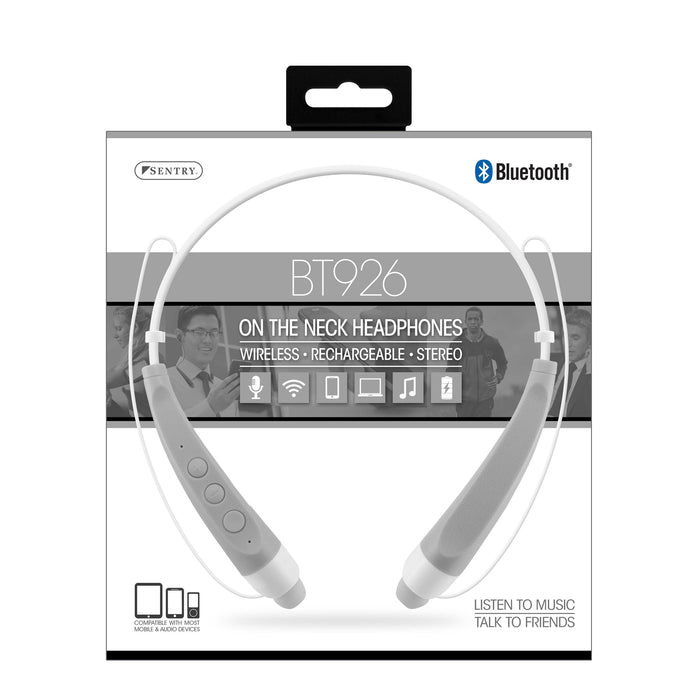 BT926 Sentry Silver On The Neck Bluetooth Headphones - Silver
