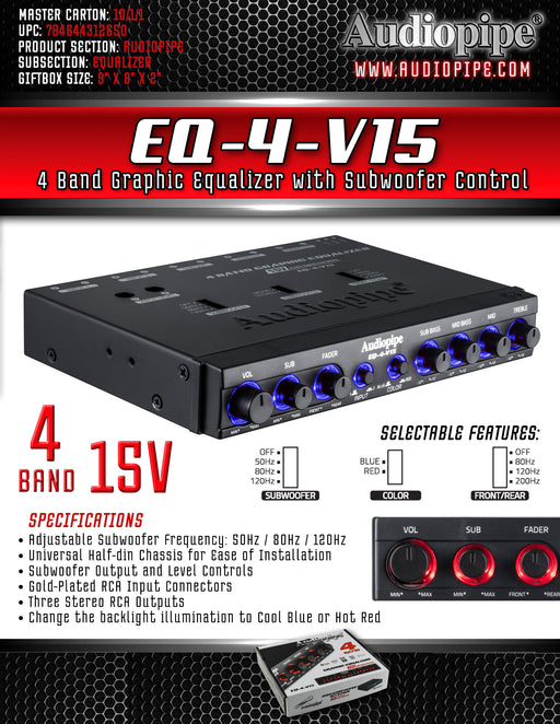 EQ-4-V15 Audiopipe 15V 4 Band Graphic Equalizer
