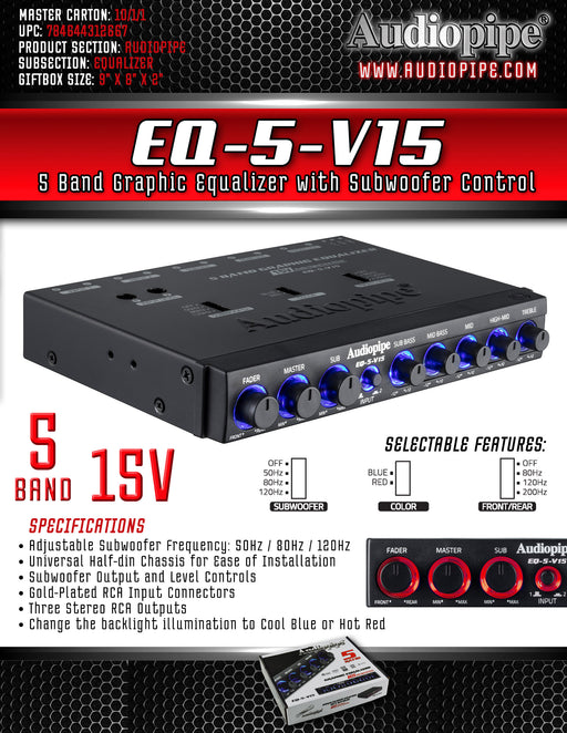 EQ-5-V15 Audiopipe 15V 5 Band Graphic EQ