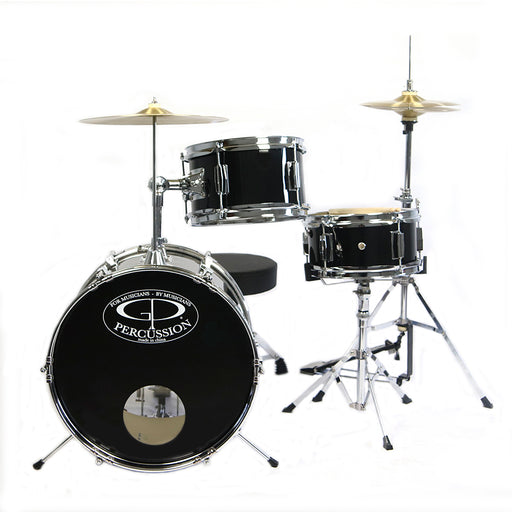 "GP50BK GP Percussion 16""  3 Piece Junior Drum Set (Black)"