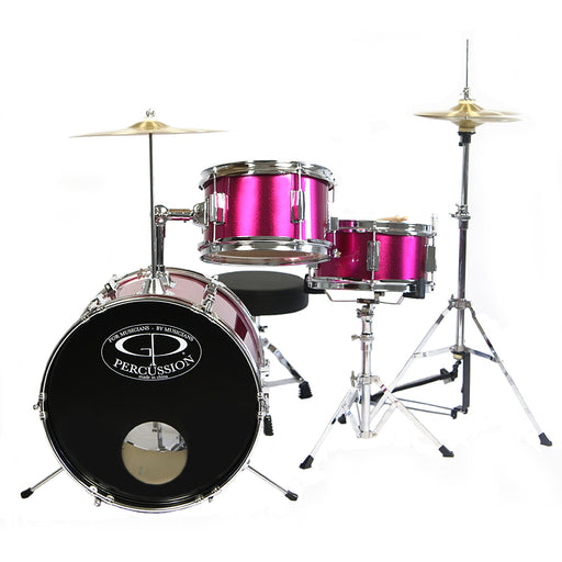 GP50MPK GP Percussion 3 Piece Junior Drum Set (Metallic Pink)