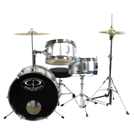 GP50SV GP Percussion 3 Piece Junior Drum Set (Silver)