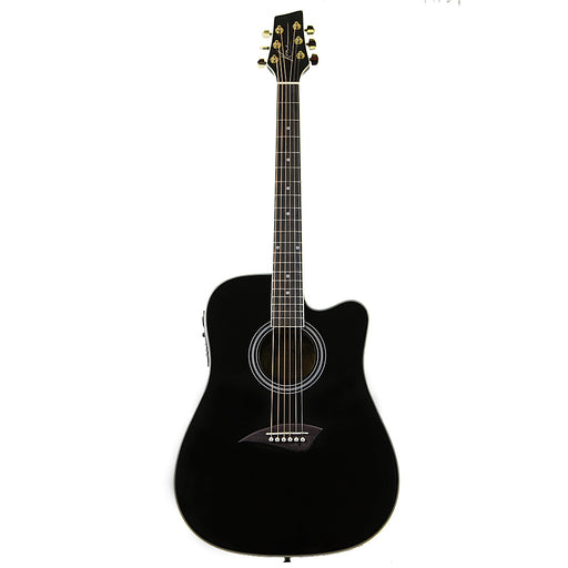 K1EBK Kona K1E Series Dreadnought Cutaway Acoustic/Electric Guitar (Gloss Black)