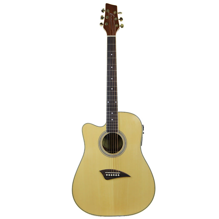 K1EL Kona K1 Series Left Handed Cutaway Acoustic/Electric Guitar (Natural Gloss)