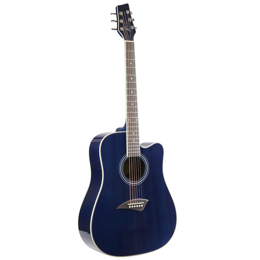 K1TBL Kona K1 Series Acoustic Dreadnought Cutaway Guitar (Transparent Blue)