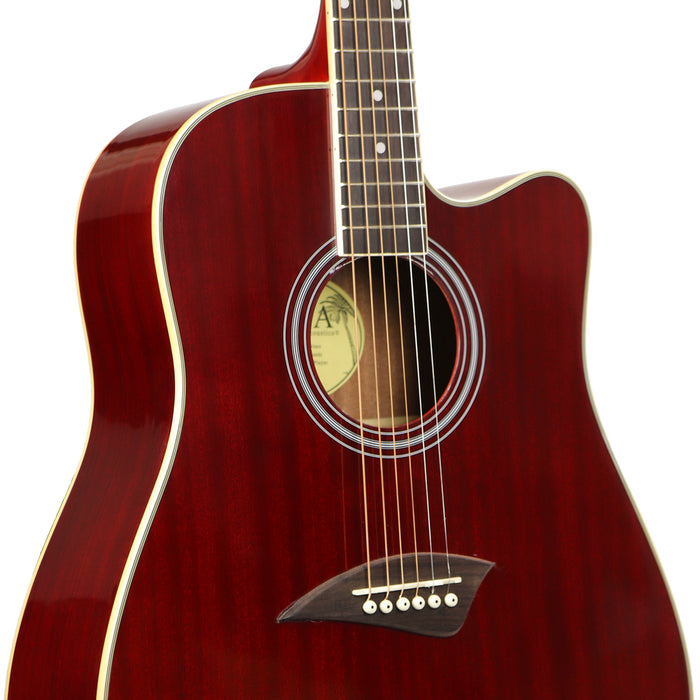 K1TRD Kona K1 Series Acoustic Dreadnought Cutaway Guitar (Transparent Red)