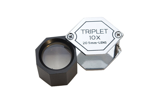 LO26 10X 20.5mm HexagonTriplet Loupe Matte - Silver/Black