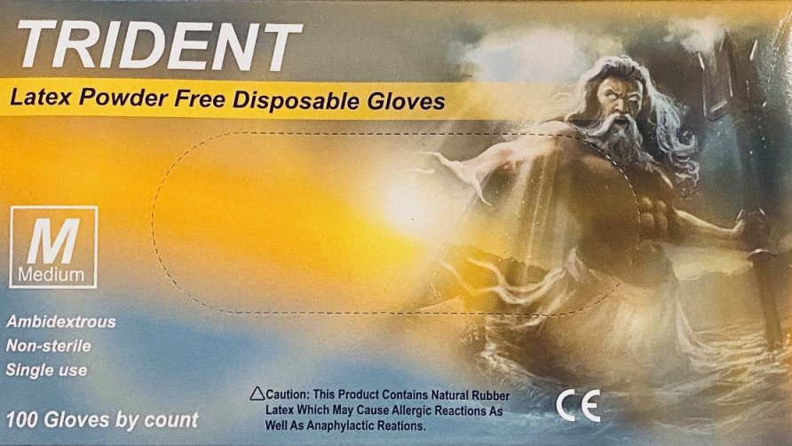 LGPF-T-M Trident Powder Free Latex Gloves 100 pcs Medium