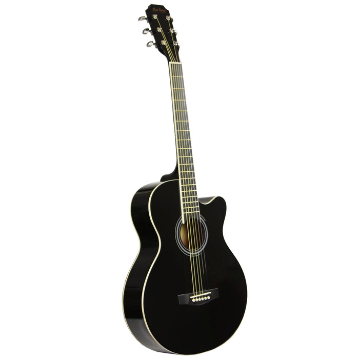 "MAS38BK Main Street 38"" Acoustic Cutaway Guitar (Black)"