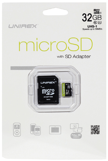 MEM-MICSD32G Memory Micro SD and SD Adapter 32 GB