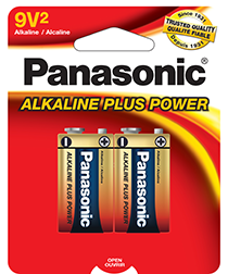 6AM6BP2 Panasonic Alkaline Plus Power 9V Battery 2-Pack