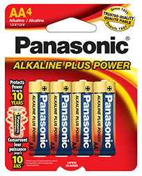 AM3BP4 Panasonic Alkaline 4pk AA Cell Batteries