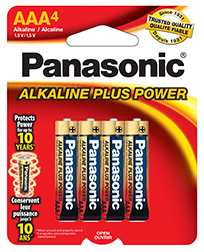 AM4BP4 Panasonic Alkaline 4 Pack AAA Batteries