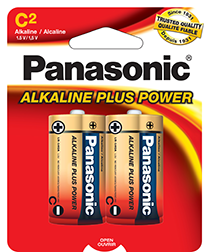 AM2BP2 Panasonic Alkaline 2 Pack C Cell Batteries