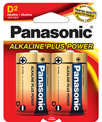 AM1BP2 Panasonic Alkaline Plus D Cell Alkaline Battery 2-Pack