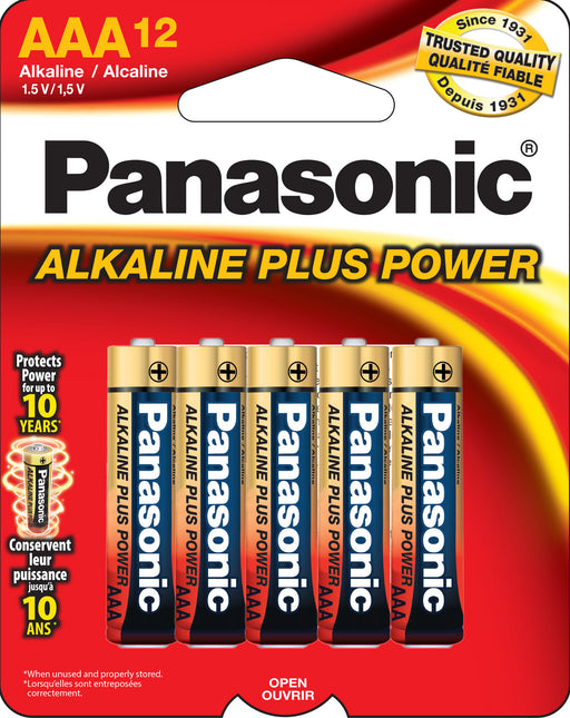 AM4PA12B Panasonic AAA 12 pack Alkaline Batteries