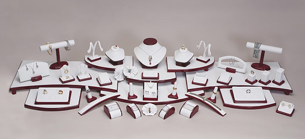 SET42RW 61Pc White Leatherette Display Glossy Rosewood