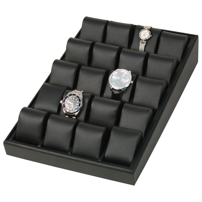 WT-1320L-BK 20pc Black Faux Leather Angle Watch Display